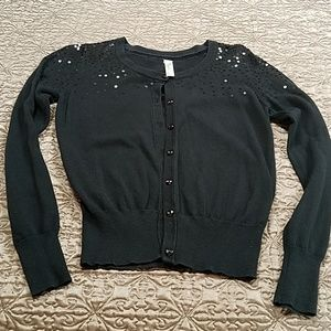 Black Sequined Shoulder Cardigan